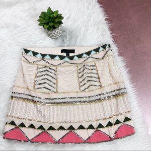 Sanctuary Beaded Tan Pink Silver Skirt